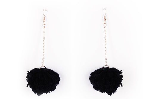 Black Pompom Earring