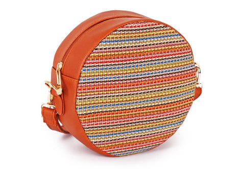Stitched circular crossbody bag in brown