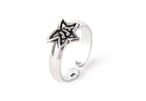 Star knuckle silver ring
