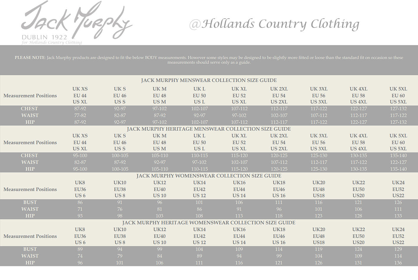 European size chart womens clothes