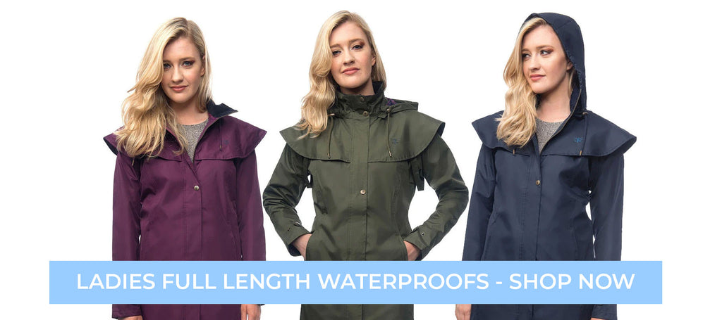 Ladies long waterproof drover coats at Holland's