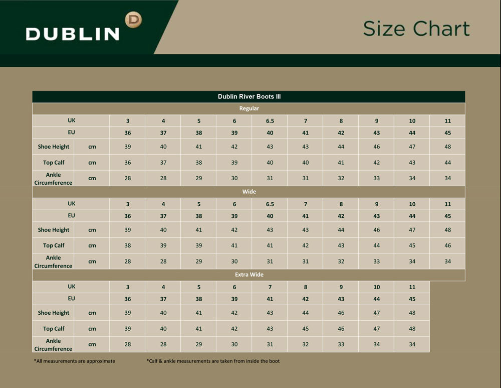 River Boots Size chart