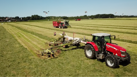 Farm machinery cutting silage