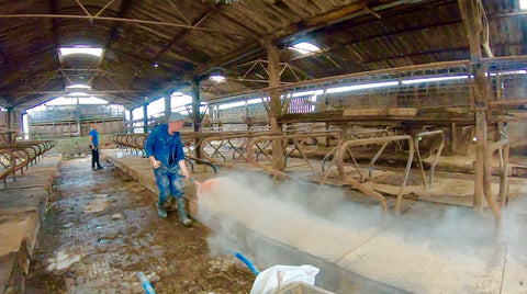 Cleaning farm building