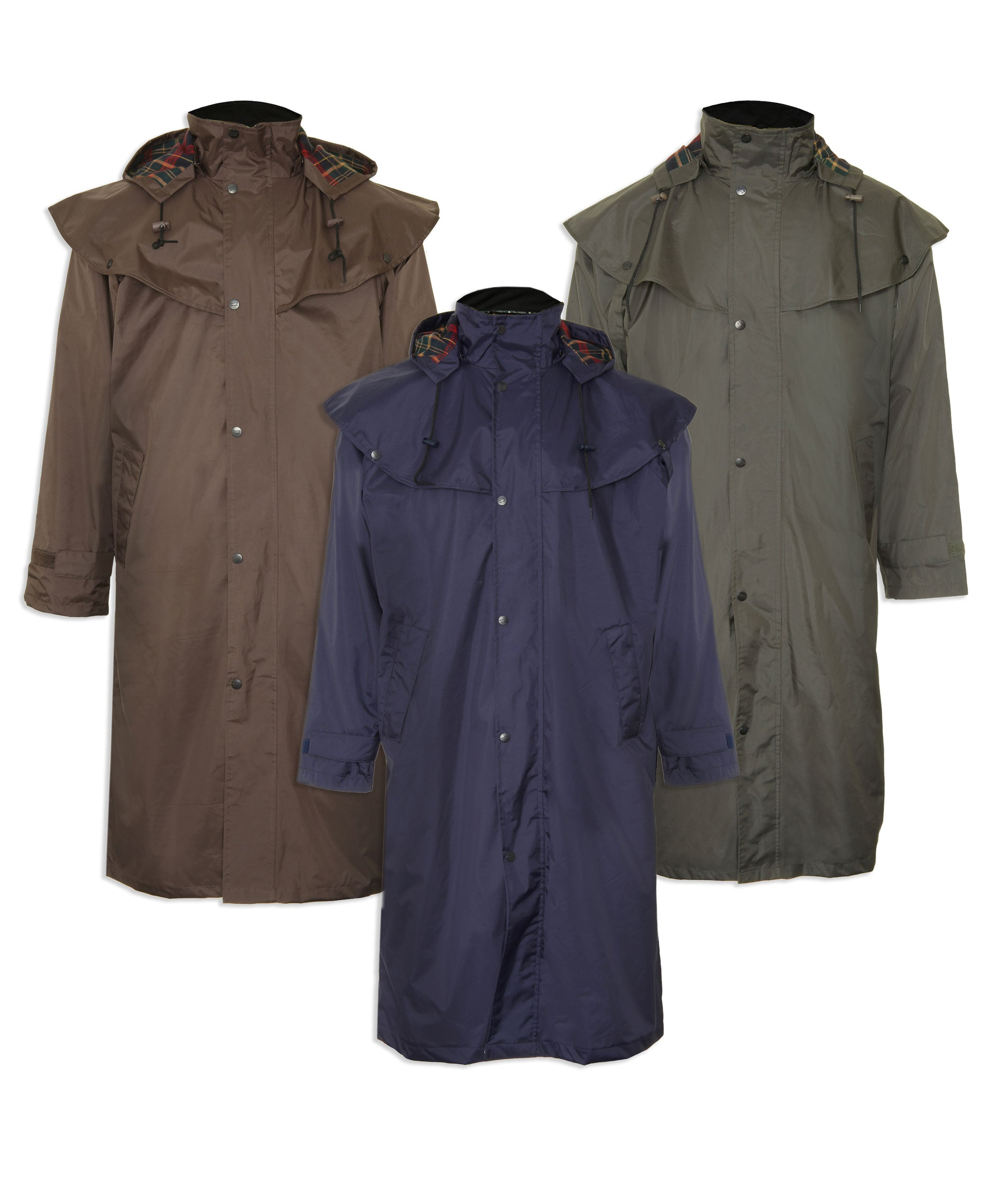 Highgrove Full Length Men's Long Waterproof Coat by Champion. Olive Navy Brown