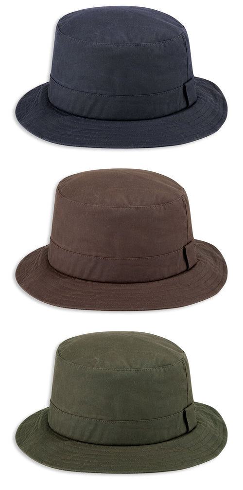 Hoggs of Fife Waxed Bush Hat | Brown, Green, Navy