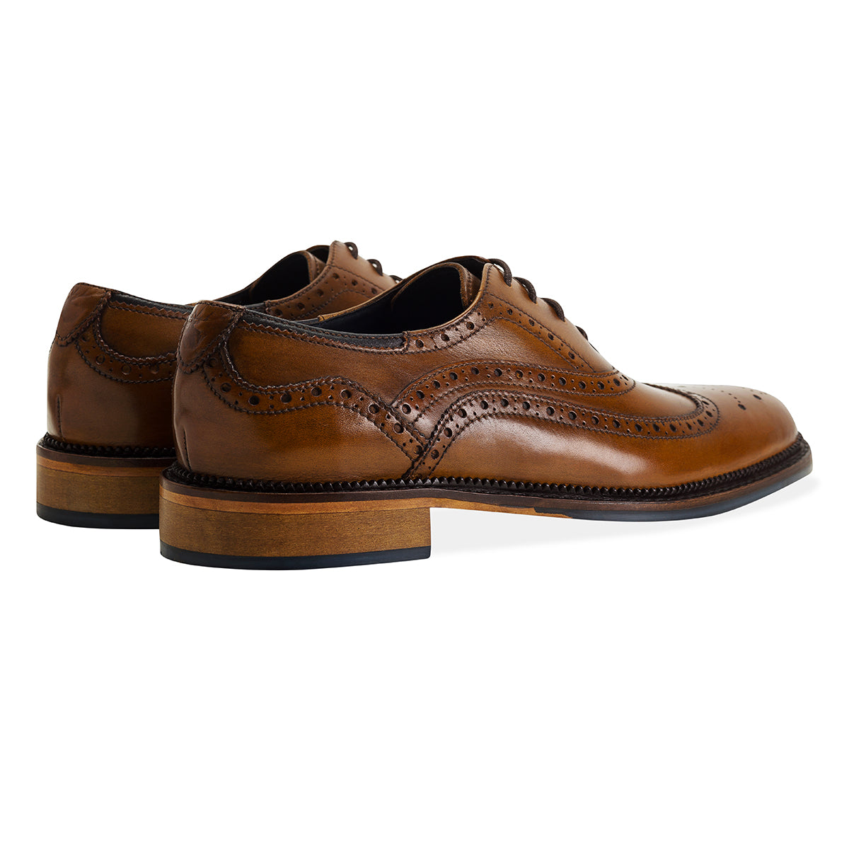 bropgue pattern Chatworth Tan Brogue Shoe by Goodwin Smith