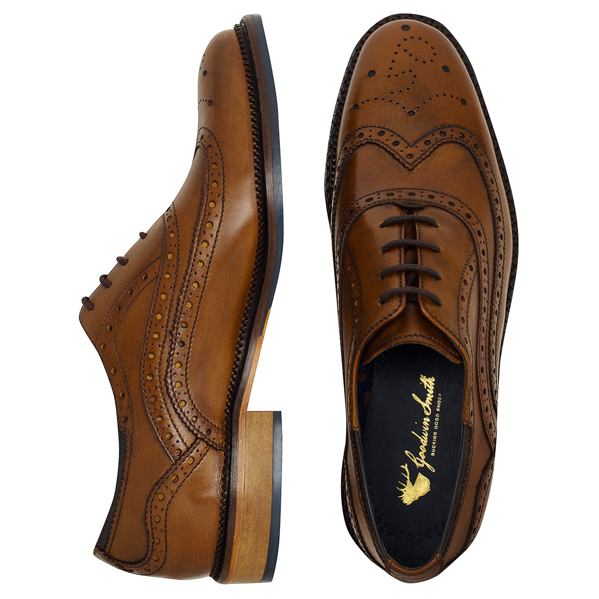 leather upper Chatworth Tan Brogue Shoe by Goodwin Smith