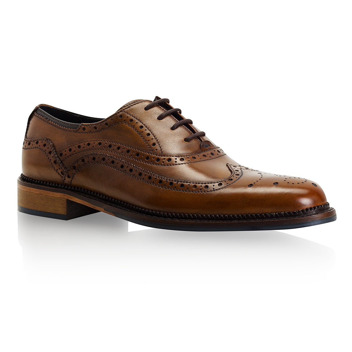 toe cap Chatworth Tan Brogue Shoe by Goodwin Smith