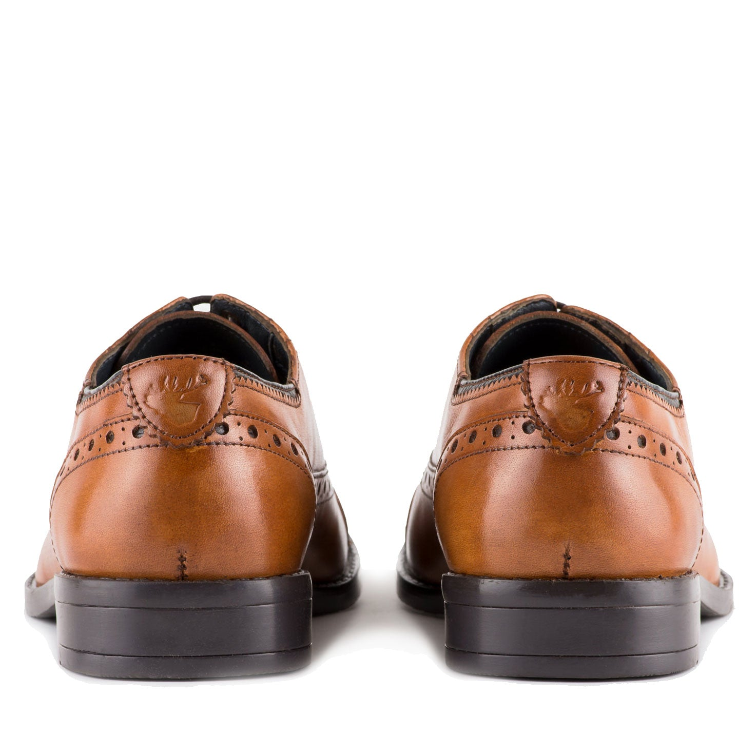leather heel Rich tan leather Classic Oxford shoe in a subtle Semi Brogue