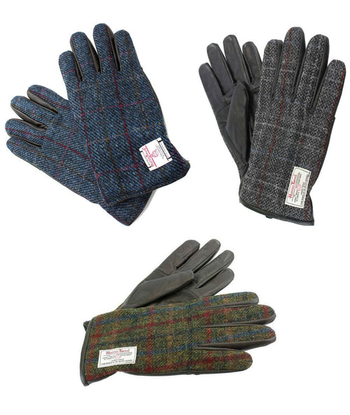 British Bag Company Harris Tweed Gloves | Grey, Blue, Green