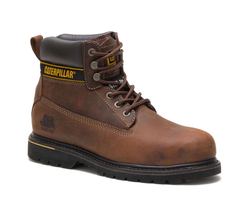 Brown CAT Holton Steel Toe S3 Leather Lace Up Work Boot