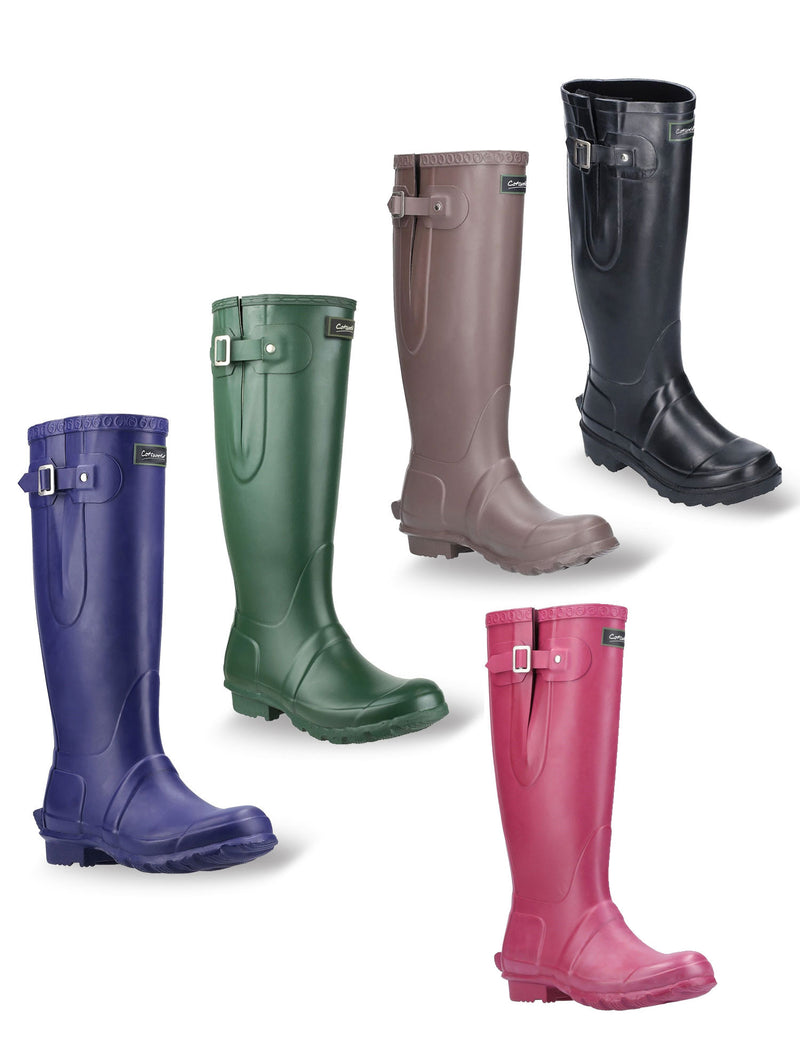 Cotswold Windsor Buckle Strap Rubber Wellingtons | Aubergine, Green, Brown, Black, Berry