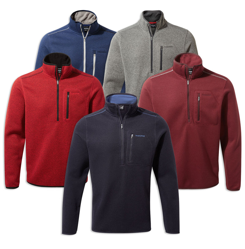 Craghoppers Etna Half Zip Fleece | Lapis Blue, Sriracha Red, Brick Red, Soft Grey, Navy Marl