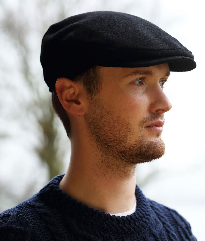 Black Donegal Tweed Flat Cap by Hanna Hats of Donegal