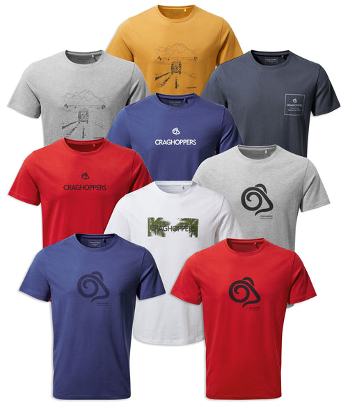 Craghoppers Nelson T-shirt | Blue, White, Red, Grey, Golden Yellow, Steel Blue, Mouflon Ram Logo