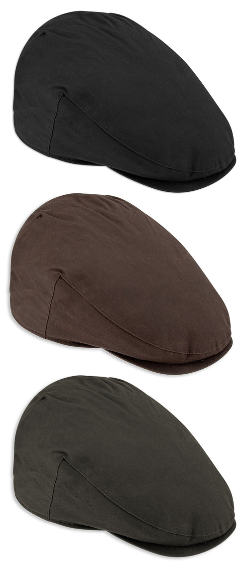 Hoggs Wax Flat Cap. The classic country Waxed Cotton Cap | Olive, Navy black, Brownk