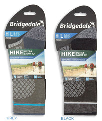 Grey , Black Bridgedale Hike Ultra Light T2 Boot Sock