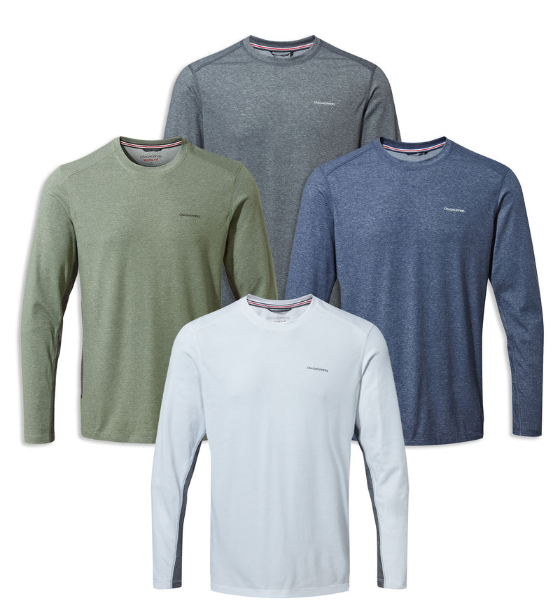 Craghoppers NosiLife Talen Long Sleeve T-Shirt | Optic white, Blue, Sage, Grey Marl