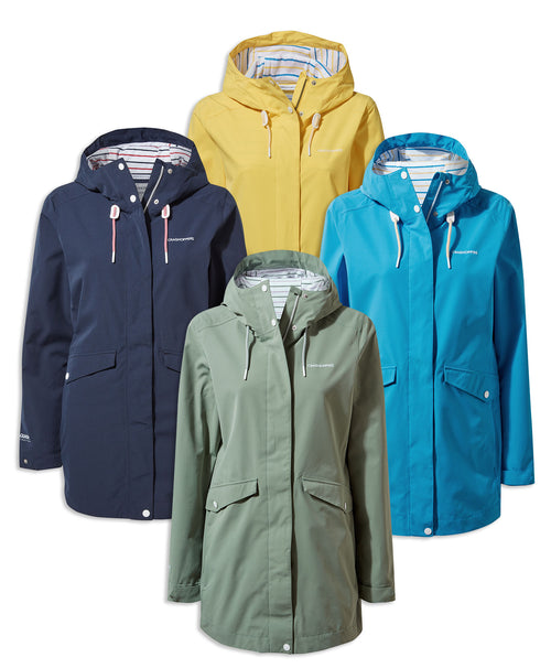 Craghoppers Salia Mid Length Waterproof Jacket | Blue Navy, Sage, Limoncello, Mediterranean Blue