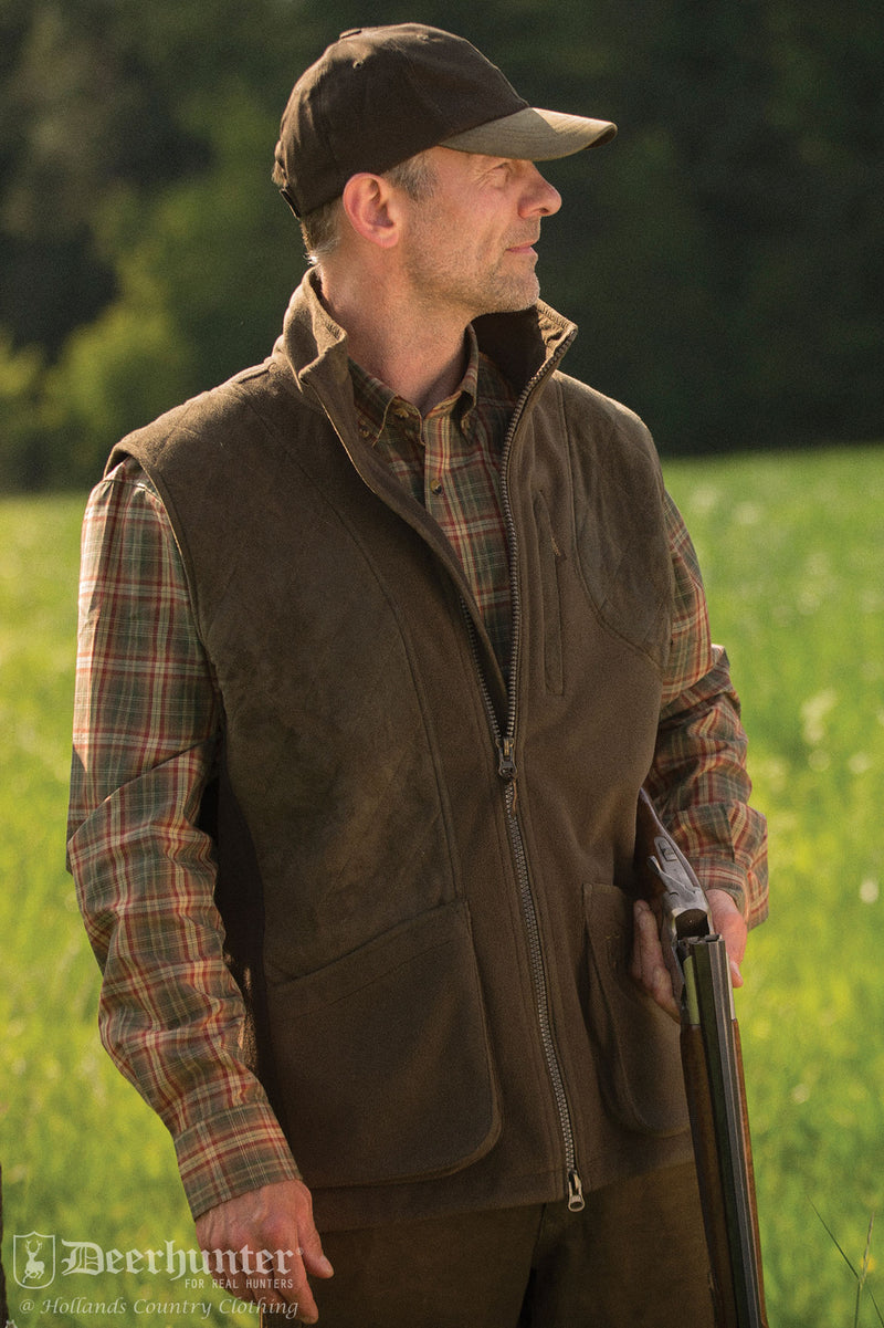 man wearing Deerhunter Gamekeeper Fleece Shooting Gilet