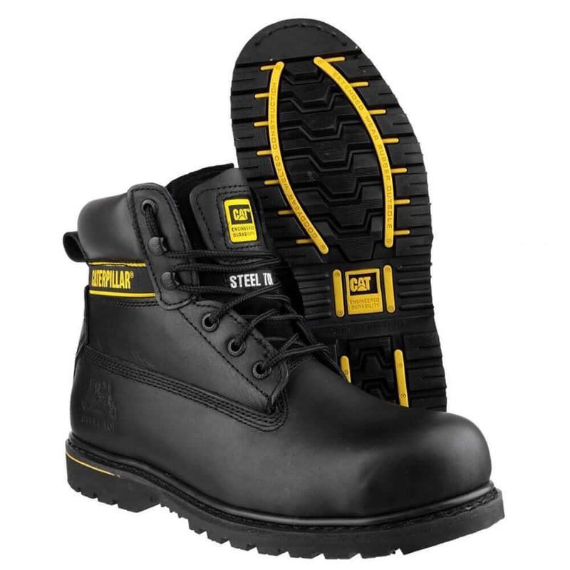 Black and gold CAT Holton Steel Toe S3 Leather Lace Up Work Boot