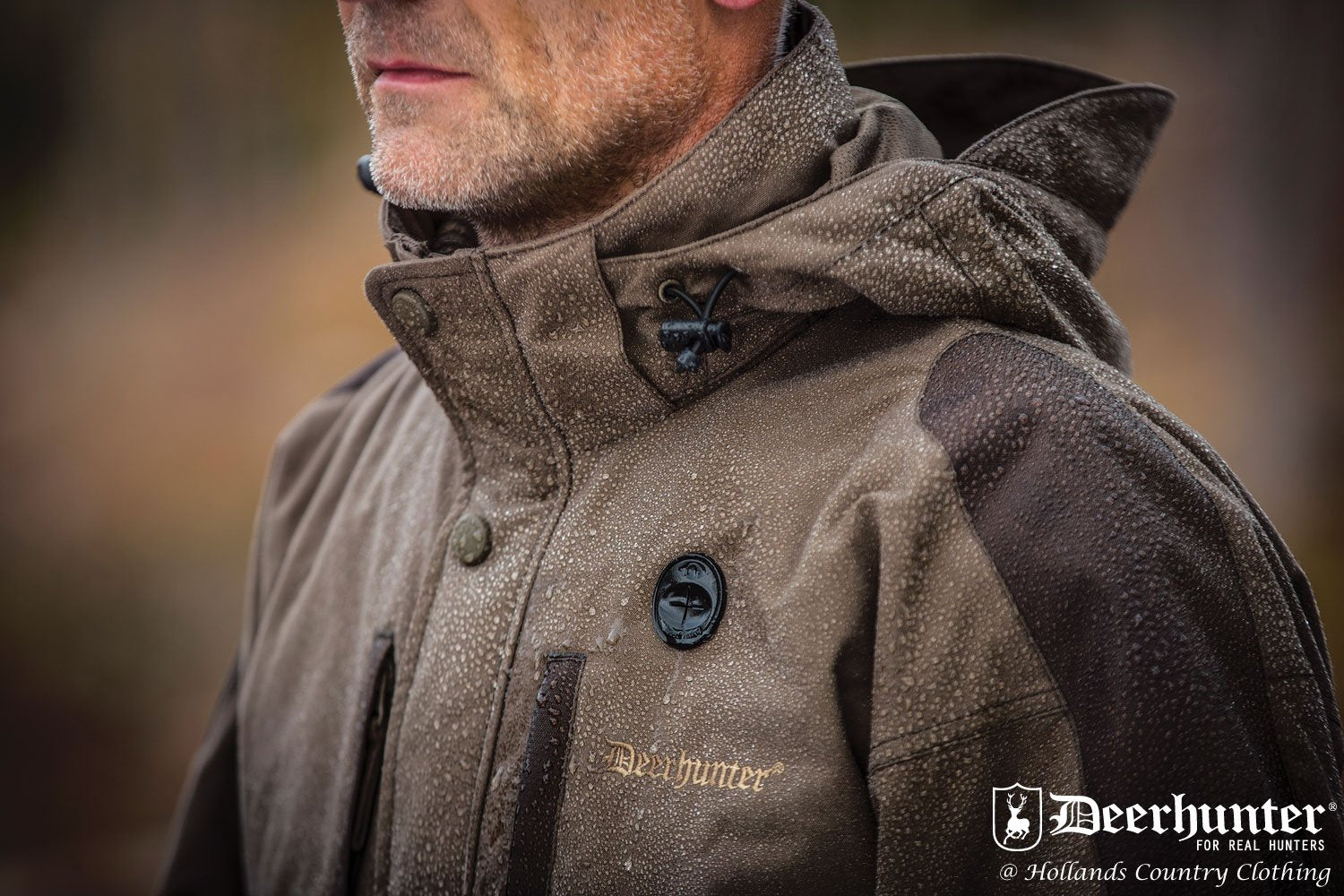 Water beading on outer Upland Waterproof Jacket by Deerhunter