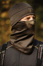 Discover face-mask snood with mesh for nose and mouth in a stretchable material