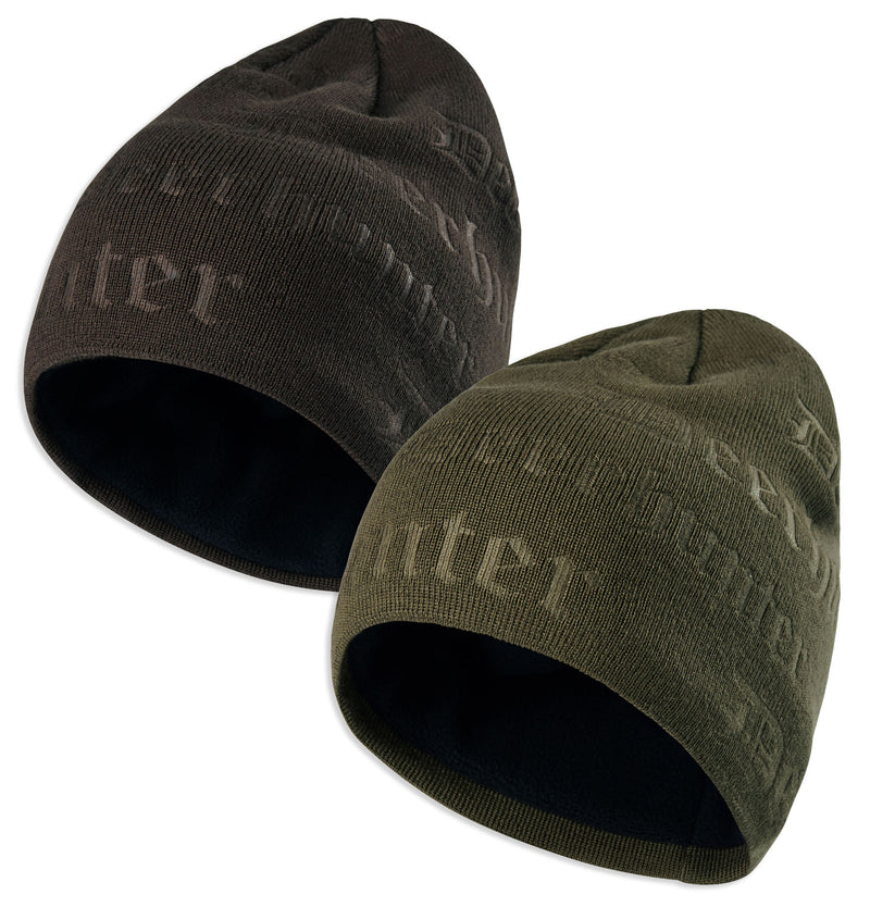 Deerhunter Embossed Logo Beanie | Tarmac Green and Walnut