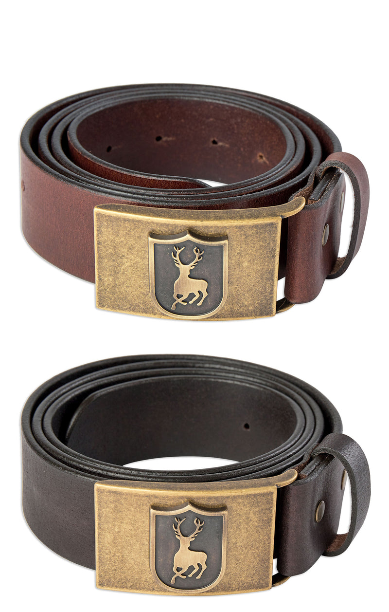 Deerhunter Deer Buckle Leather Belt | Dark Brown, Cognac