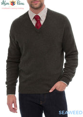 wear with a tie Burford Men's Lambswool V Neck Sweater - Classic Fit