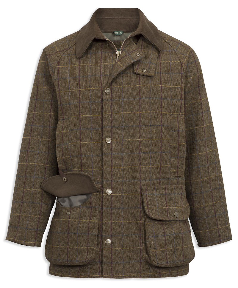 Alan Paine Rutland Waterproof Tweed Shooting Coat | Alder