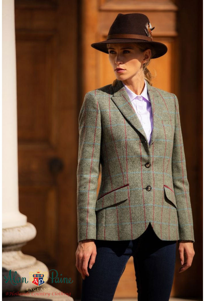 With Felt hat Alan Paine Surrey Ladies Long Blazer | Moss Green
