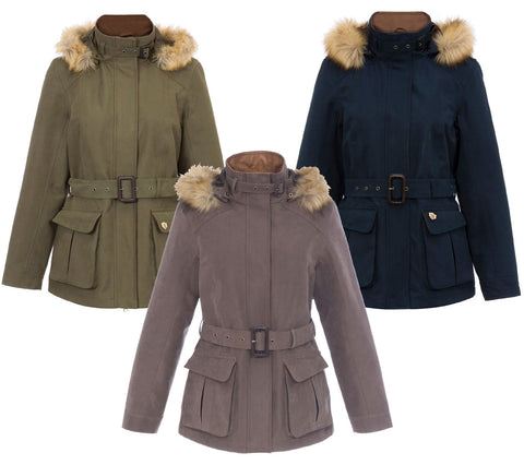 Alan Paine Berwick Jacket with Faux Fur Trim hood in three colours Brown , navy and olive