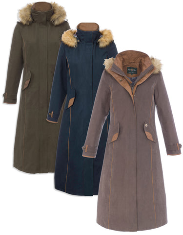 Alan Paine Berwick Ladies  Long Waterproof Coat with faux fur collar