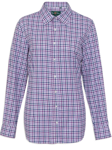 Alan Paine Bromford Ladies Shirt | Purple/Lavender Check