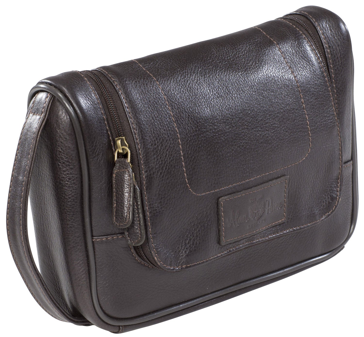 Alan Paine Leather Toiletry Bag - Dark Brown Leather