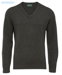 seaweed green Alan Paine Burford Vee Neck Pullover
