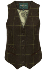 Combrook Tweed Lined Back Waistcoat  by Alan Paine in avocado tweed
