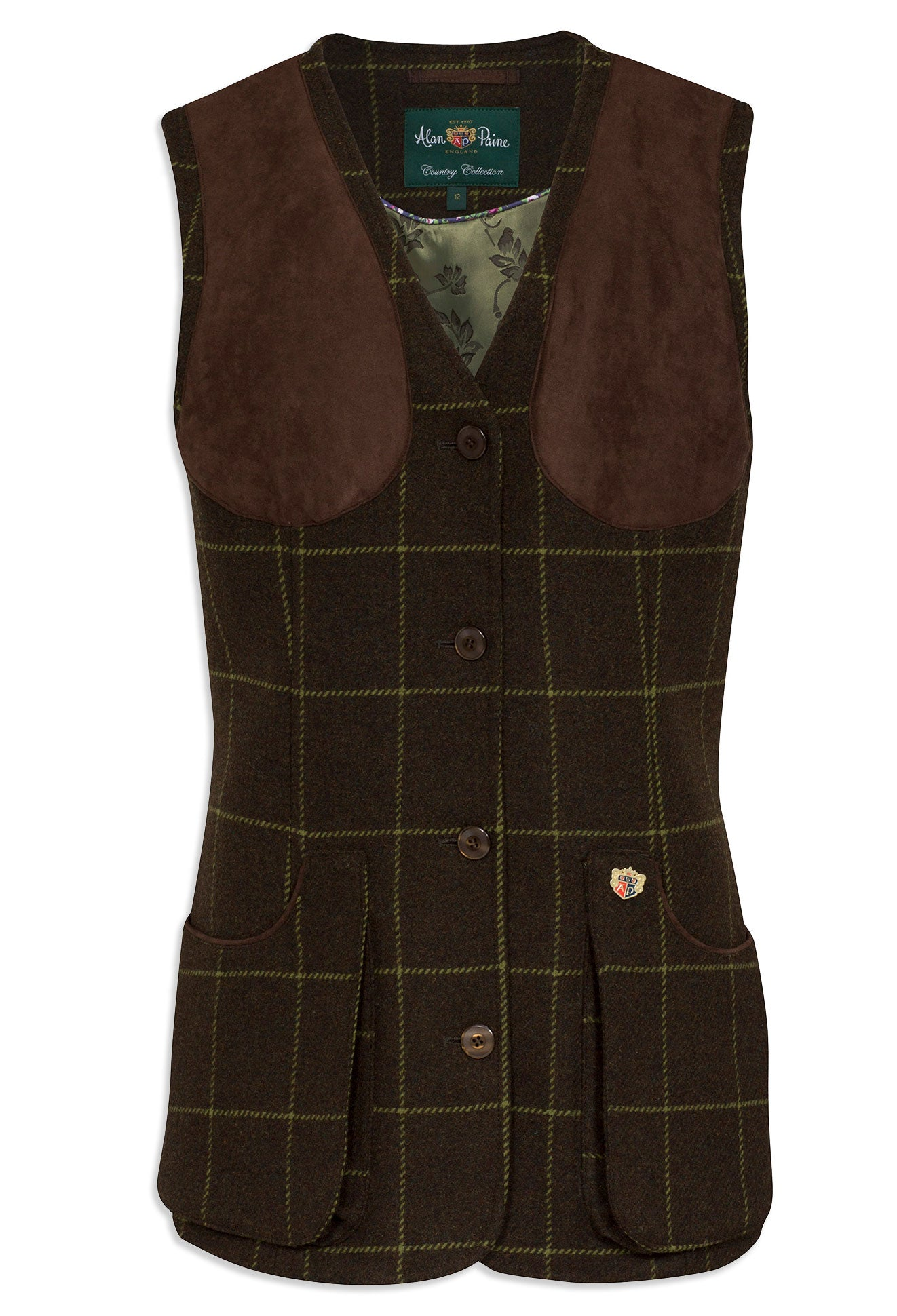 Alan Paine Ladies Tweed Shooting Waistcoat | Avocado