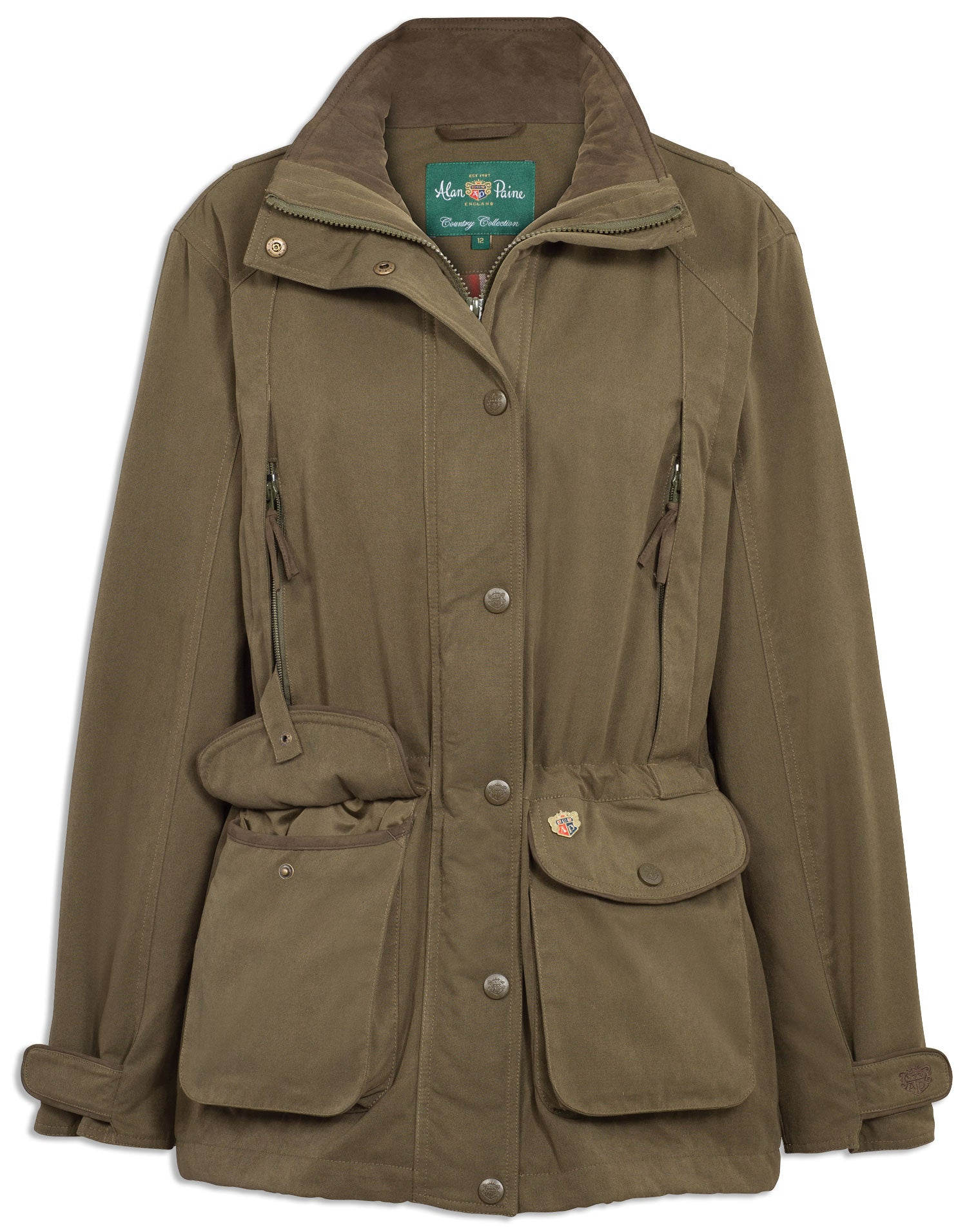 50540fa3dc715 Alan Paine Dunswell Ladies Waterproof Shooting Coat in olive. woman wearing  Alan Paine ...