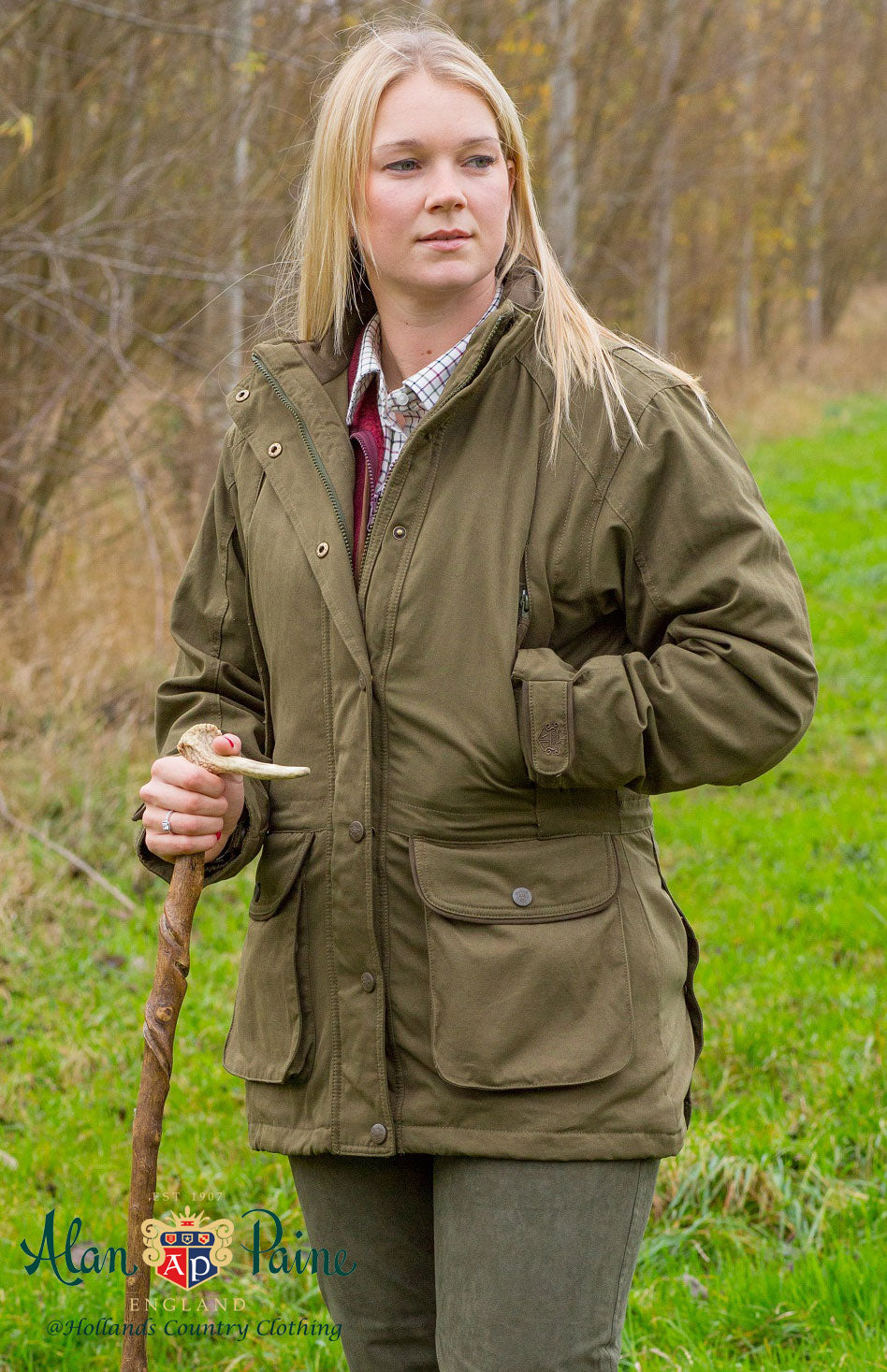 Great British Alan Paine Dunswell Ladies Waterproof Shooting Coat in olive