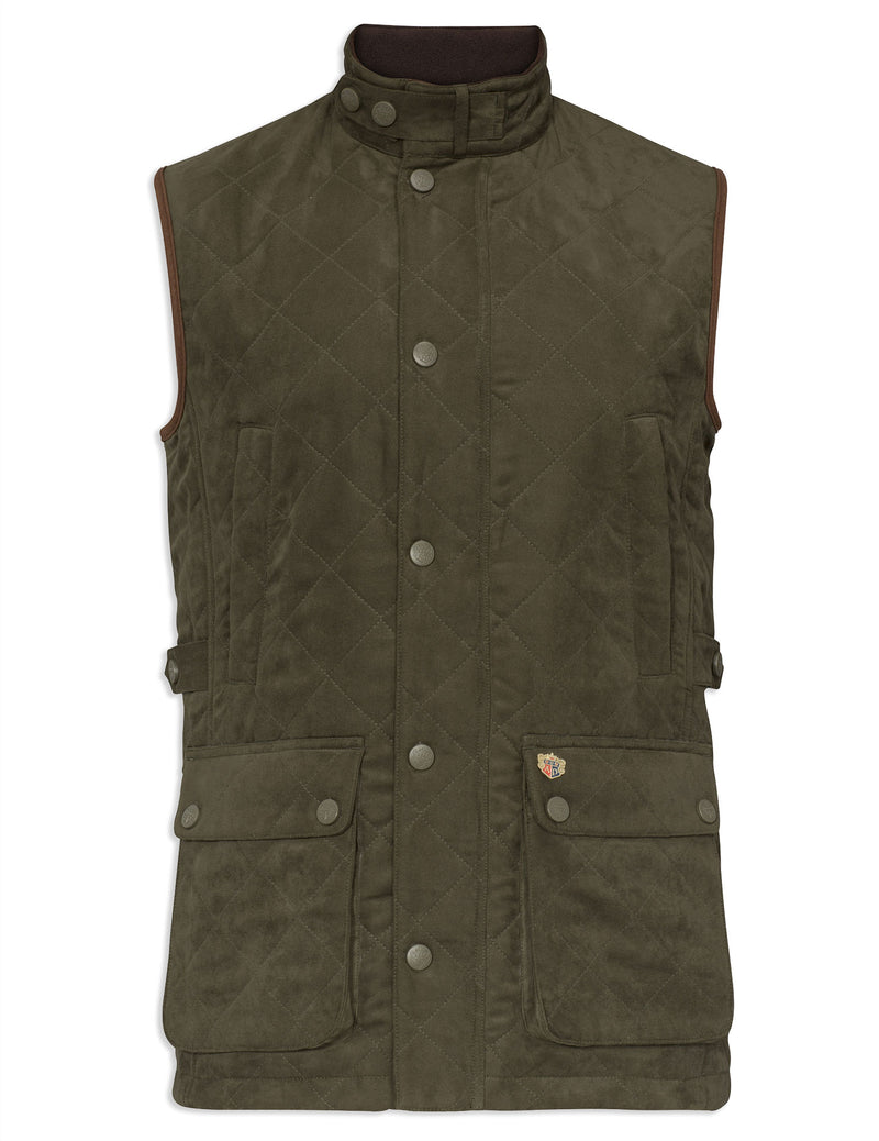 Dark Olive Alan Paine Felwell Quilted Waistcoat