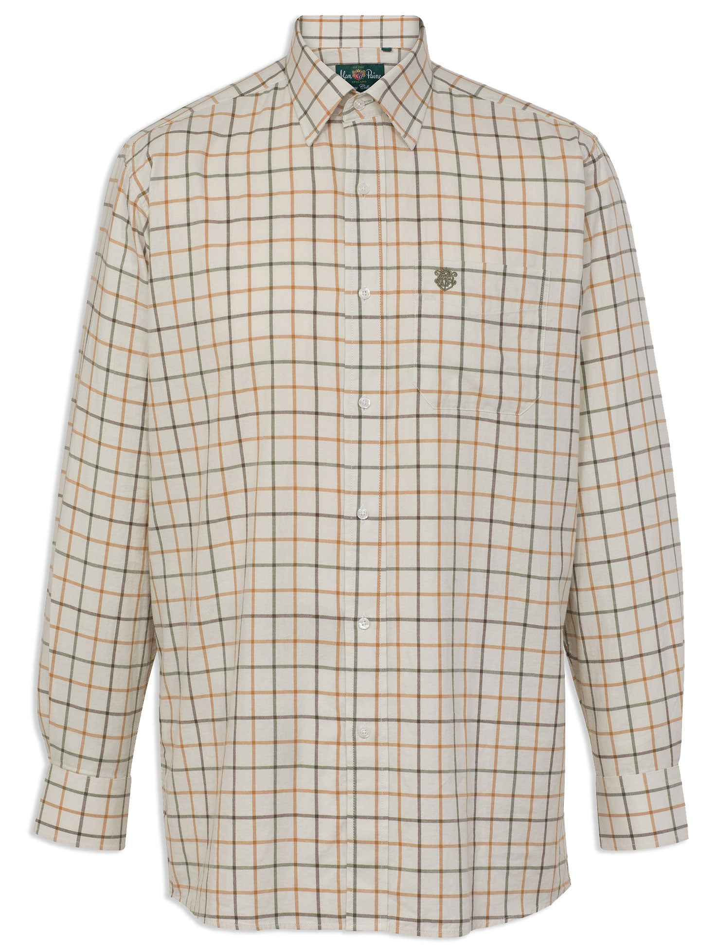 Alan Paine Ilkley Men's Shirt | Olive Check tattersall all coatton