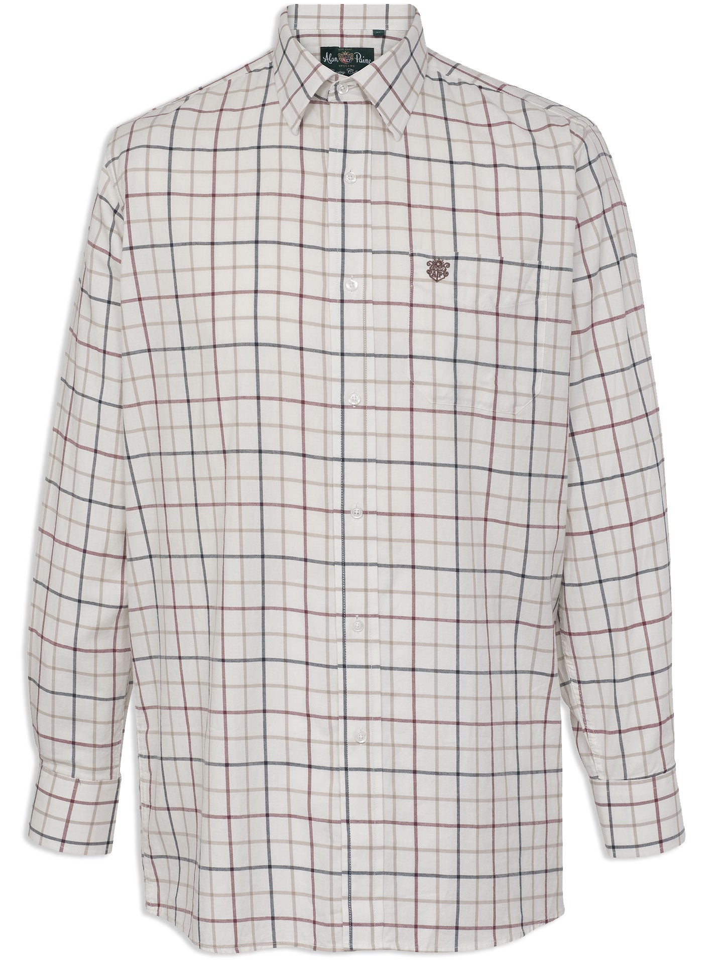 Alan Paine Ilkley Shirt | Red, Navy, Beige tattersal wide pane check