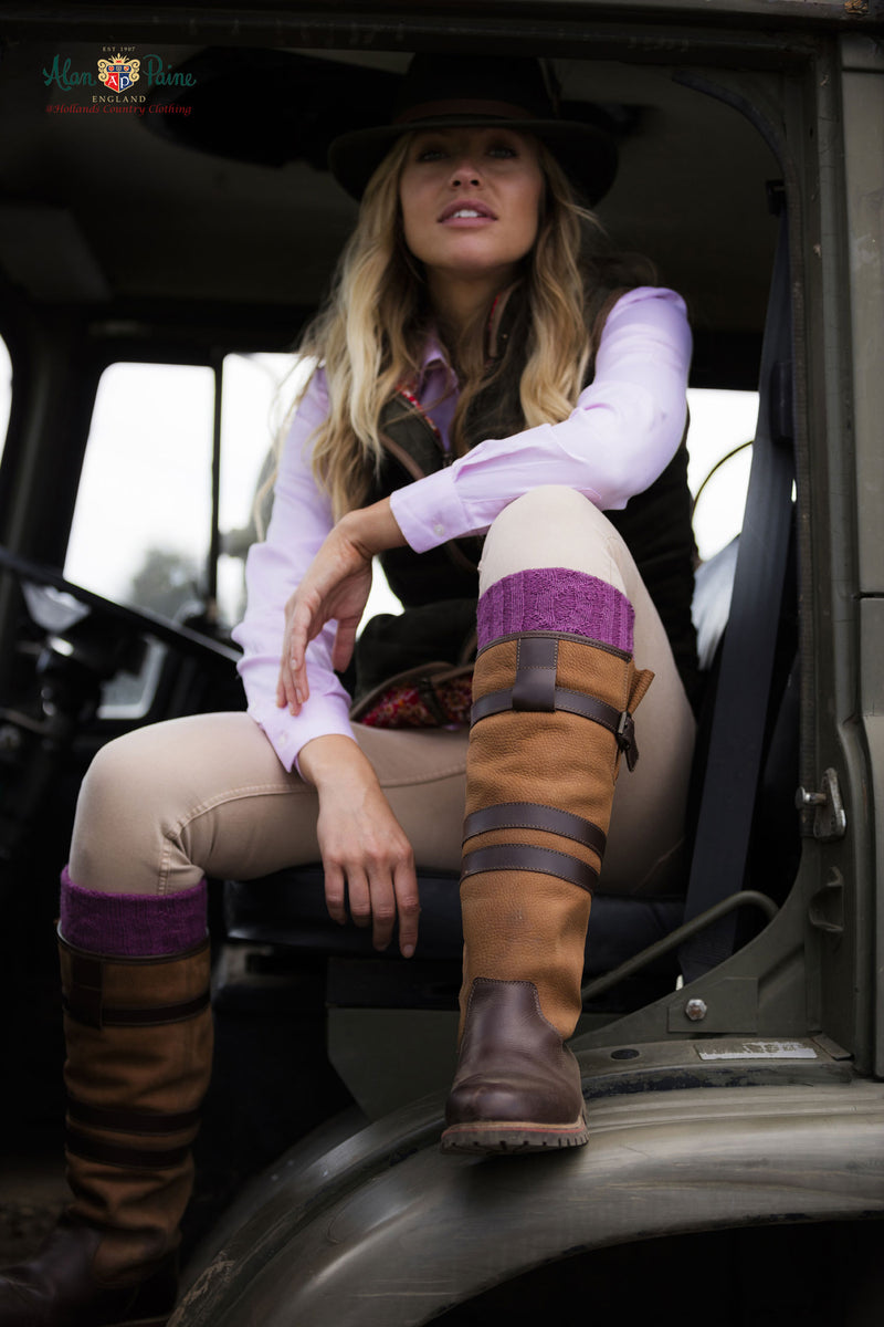 lady in horse transporter wears Alan Paine Ladies Leather Tall Waterproof Country Boot