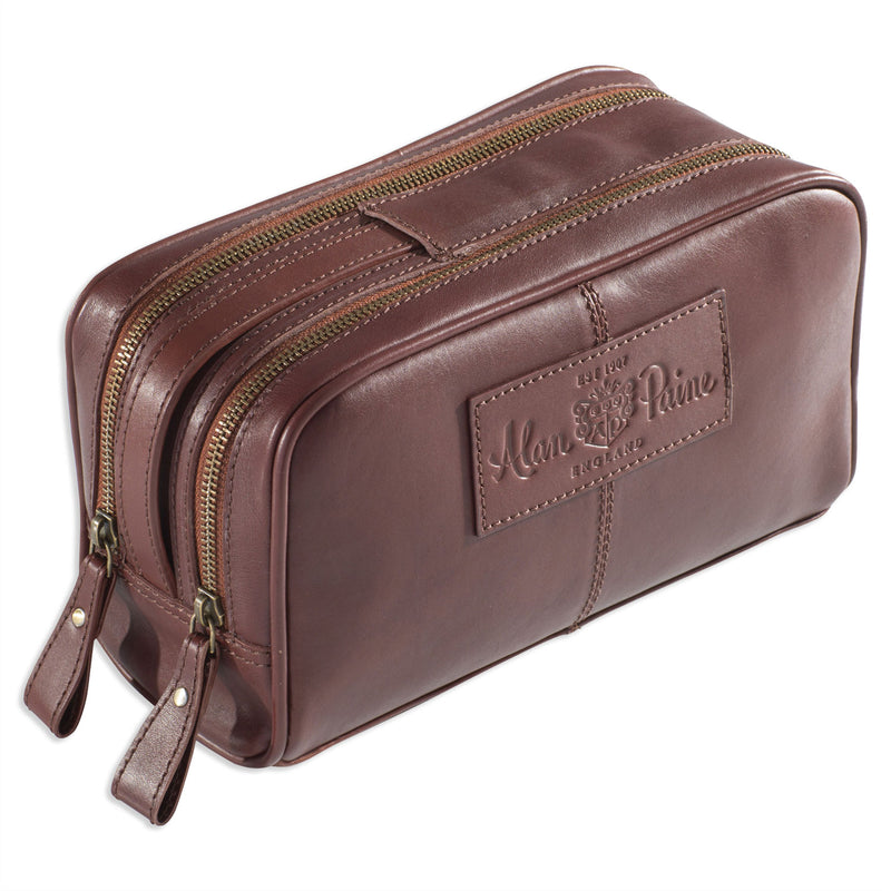 Alan Paine Men's Leather Wash Bag Oak Brown Leather