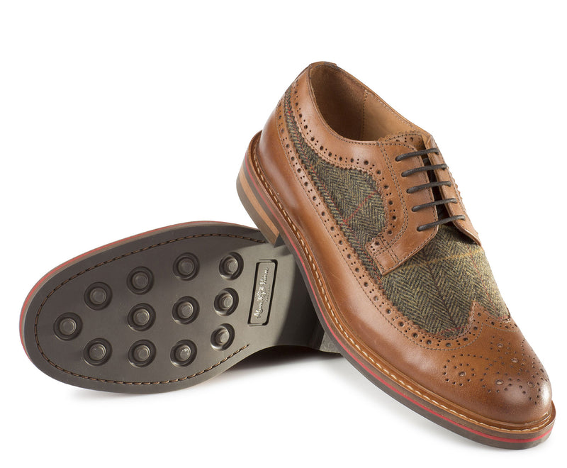 Alan Paine Leather & Tweed Brogue studded Dainite sole