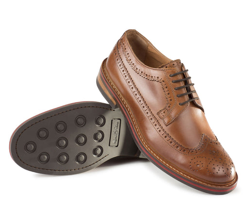 Alan Paine Leather Brogue Shoe | Tan