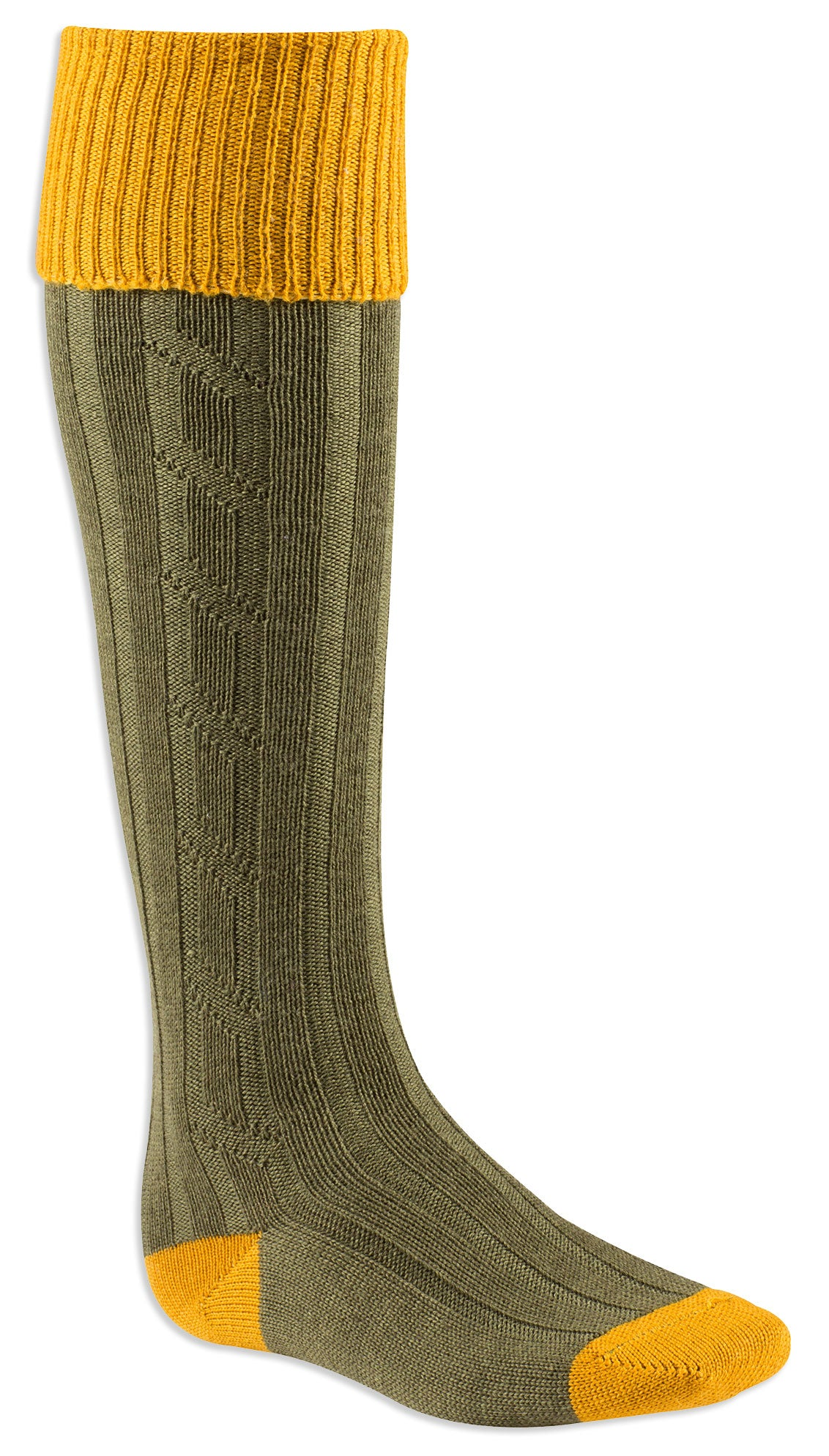 Gold and olive Contrast Heel & Toe Shooting Sock by Alan Paine